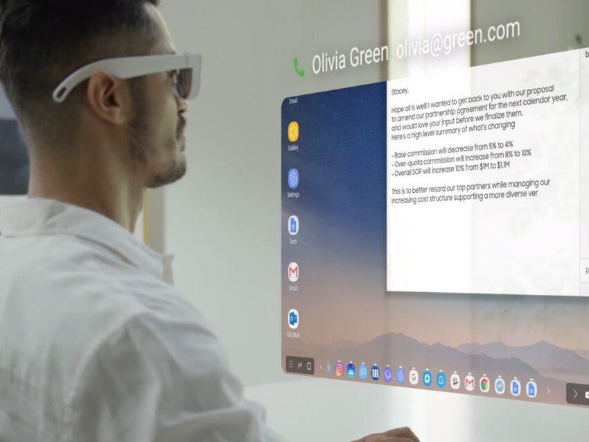 Las gafas de realidad aumentada de Samsung pueden reproducir videos, abrir correos electrónicos y volar drones
